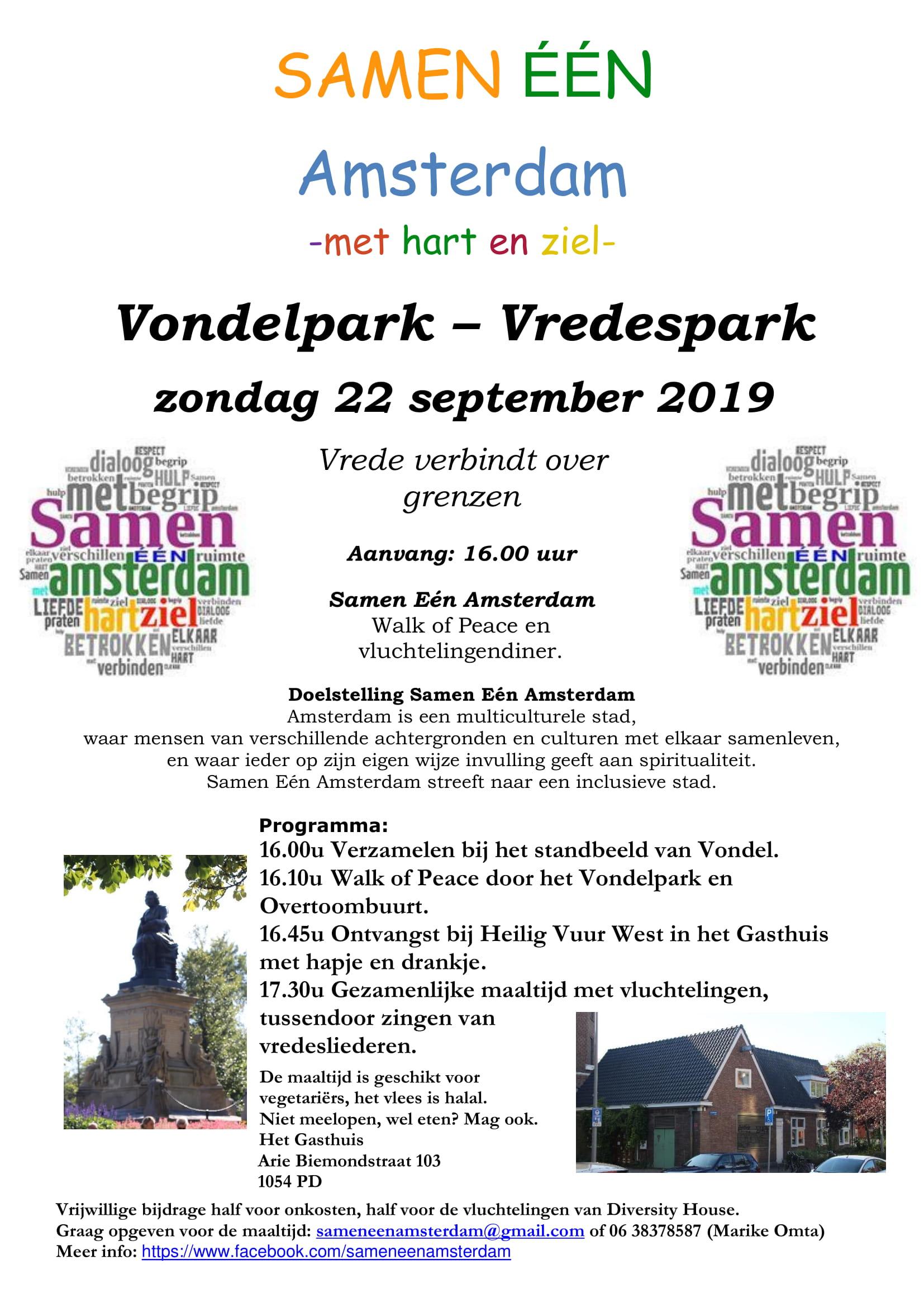 Samen ÉÉN Amsterdam organiseert Walk of Peace op 22 september